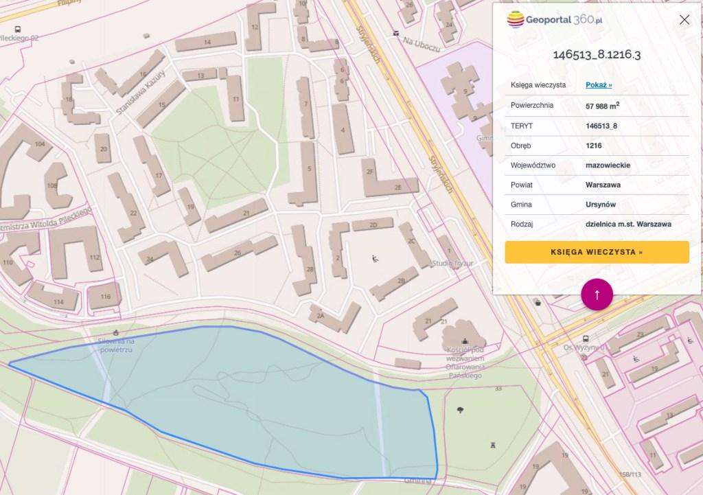 Przykładowy identyfikator (adres administracyjny działki) znaleziony na stronie Geoportal360.pl