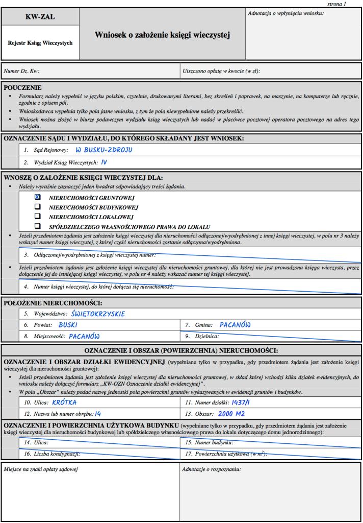 Strona 1 wniosku KW-ZAL o założenie księgi wieczystej dla nieruchomości gruntowej.