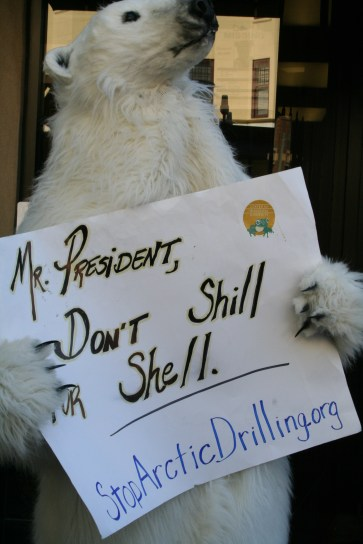 Even polar bears showed up at the protest during President Obama's campaign fundraising trip July 23, 2012. This polar bear wanted to voice his concerns about Arctic drilling. Photo by Kevin Skahan.