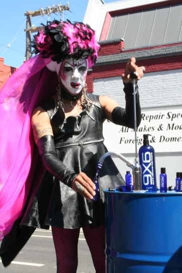 Sister Pat N Leather sells 9 X 6 lubricant at the Up Your Alley Fair to raise money for the The Sisters of Perpetual Indulgence on July 29. Photo by Kevin Skahan.
