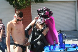 Sister Pat N Leather gets frisky at the Up Your Alley Fair on July 29. Photo by Kevin Skahan.