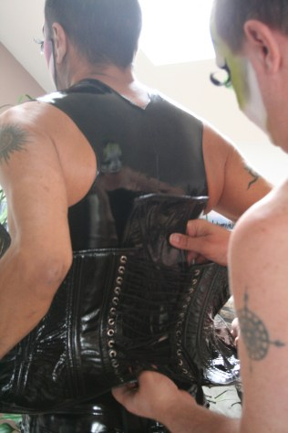Sister Eve Volution helps her husband, Pat N Leather get ready for her first official Beerbust as the 2012 Miss Royal Bunny for the Grand Ducal Council on Aug. 4 which raised $1,241 for Mission Resource Center, a drop-in center for the homeless and near homeless.