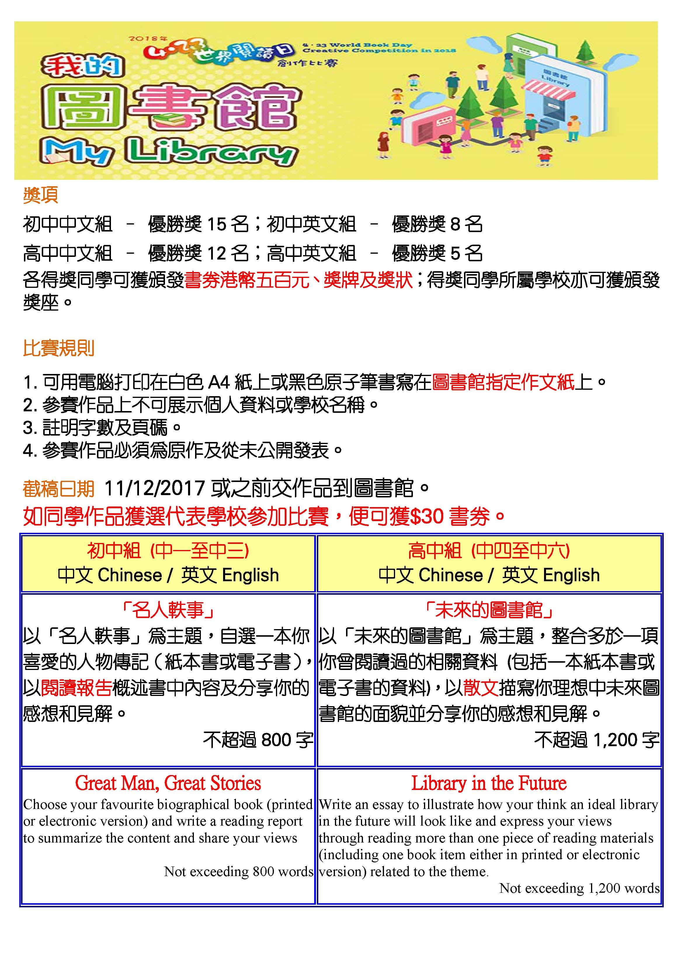2018年 423世界閱讀日創作比賽 | 香港管理專業協會羅桂祥中學圖書館