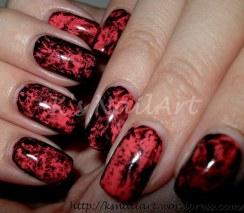 Halloween Saran Wrap Nails