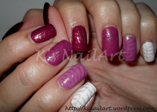 Red and White Ombre with Tiger pattern