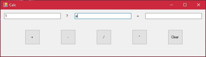Entering letter to simple calculator