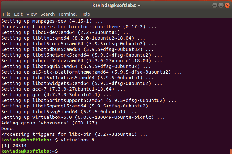 VirtualBox launch Command