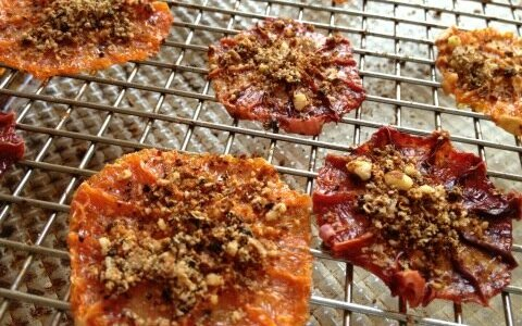 Chewy Oven Dried Orange Slices with Toasted Almond, Chile, and Szechuan Peppercorn