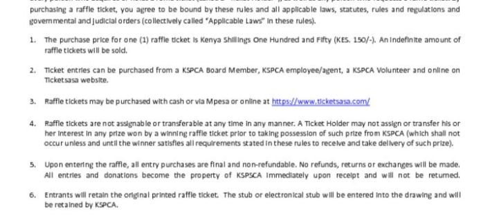 sds raffle tickets disclaimer kspca kenya