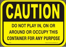 Waste container safety labels