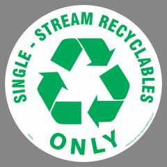 Round Single Stream Recycling Sticker