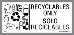 bilingual recyclables only stickers
