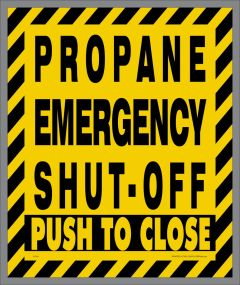 Propane Push to Shut Off Sticker