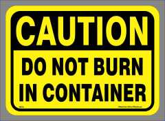 Do Not Burn Container Sticker