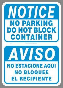 Bi-Lingual NOTICE No Parking Do Not Block Container decal