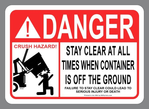 ANSI sticker Stay Clear Front Load