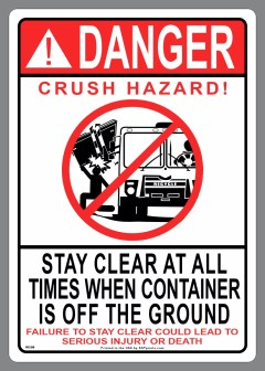 DANGER CRUSH HAZARD! (side load image) STAY CLEAR