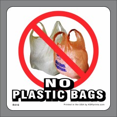 No Plastic Bags Stickers
