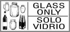 large bilingual glass recycling sticker