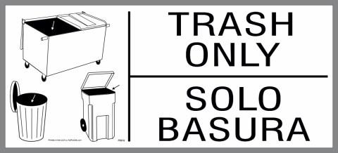 large bilingual Trash Only sticker