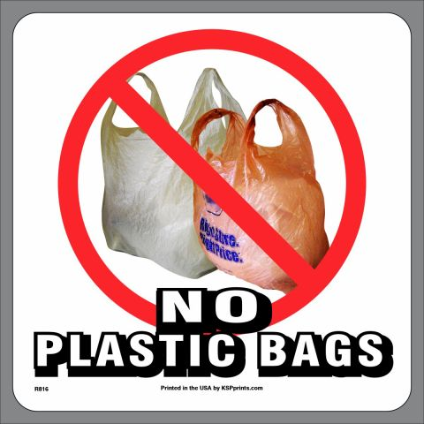 No Plastic Bags in Recycling Stickers