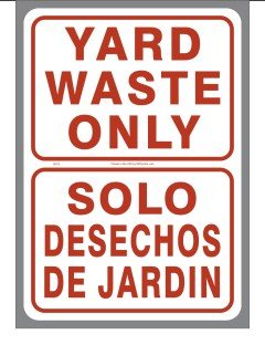 Bilingual Yard Waste Only Sticker