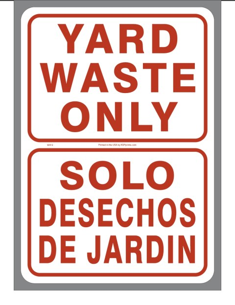 Bilingual Yard Waste Only Sticker