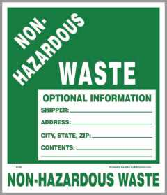 Non Hazardous Waste Label