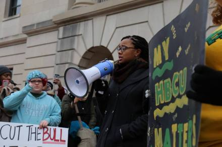 Kentucky State University Student Government President Diamond Gordon addresses the crowd at a protest rally to support more funding for higher education.