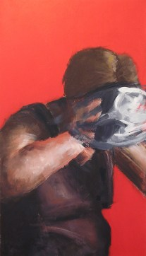 """The Mask Series: The Struggle to Find the Self V 2007 Acrylic on Canvas 50 3/8"""" x 29"""""""