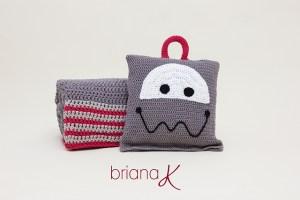 © Briana K Photography Robot Sleeping bag Blanket Pillow by Briana K Crochet