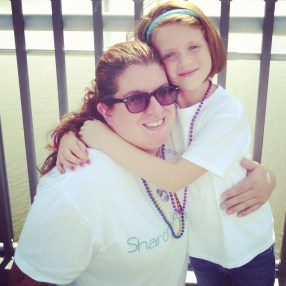 Aunt Colleen and Alorah at the 2014 Ulster County Out of the Darkness Walk at Walkway Over the Hudson