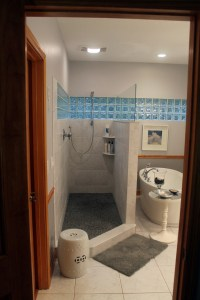 Walk in shower and freestanding tub