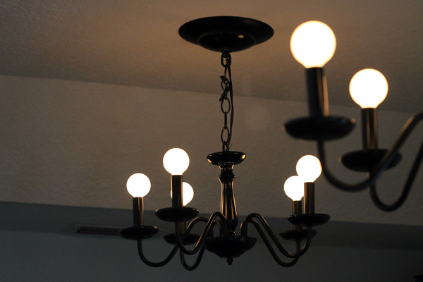 Black Chandeliers back up in the Music Room