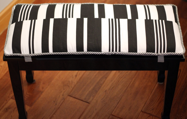 Piano Bench, DIY Bench Cushion, black and white striped fabric, music room