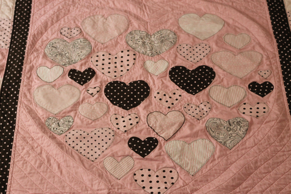 #Heart of my heart #quilt for piper #pink and brown quilt #quilt