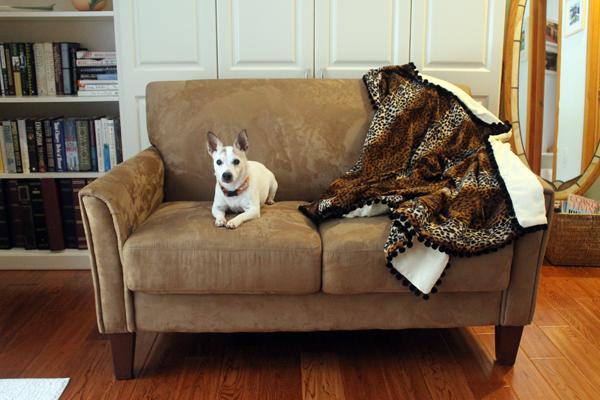 Catnap Blanket, Blanket, Faux Leopard Fur, Pom Poms, maggie
