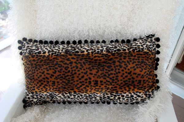 Funky Leopard Pom Pom Pillow, envelope style pillow cover