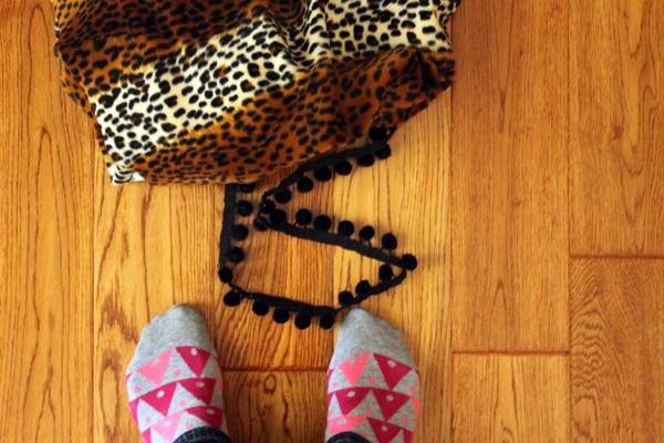 Pom pom and fabric for Funky Lumbar Leopard Pom Pom Pillow