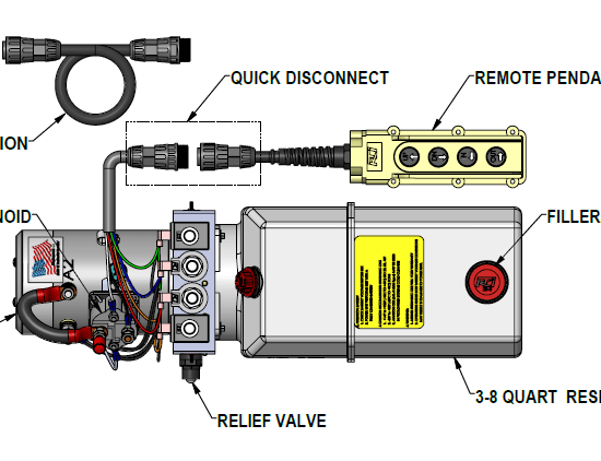 hydraulic pump wiring diagram trailer 4 pin support kti hydraulics inc installation instructions 12 vdc dual double acting