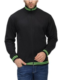 AWG High Neck Sweatshirt Black with Green Stripes