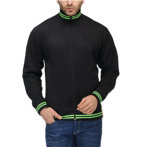 AWG High Neck Sweatshirt Black with Green Stripes
