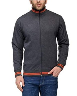 AWG High Neck Sweatshirt Charcoal Grey with Orange Stripes