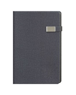 Faux Leather Dark Grey A4 Notebook with Clip Latch
