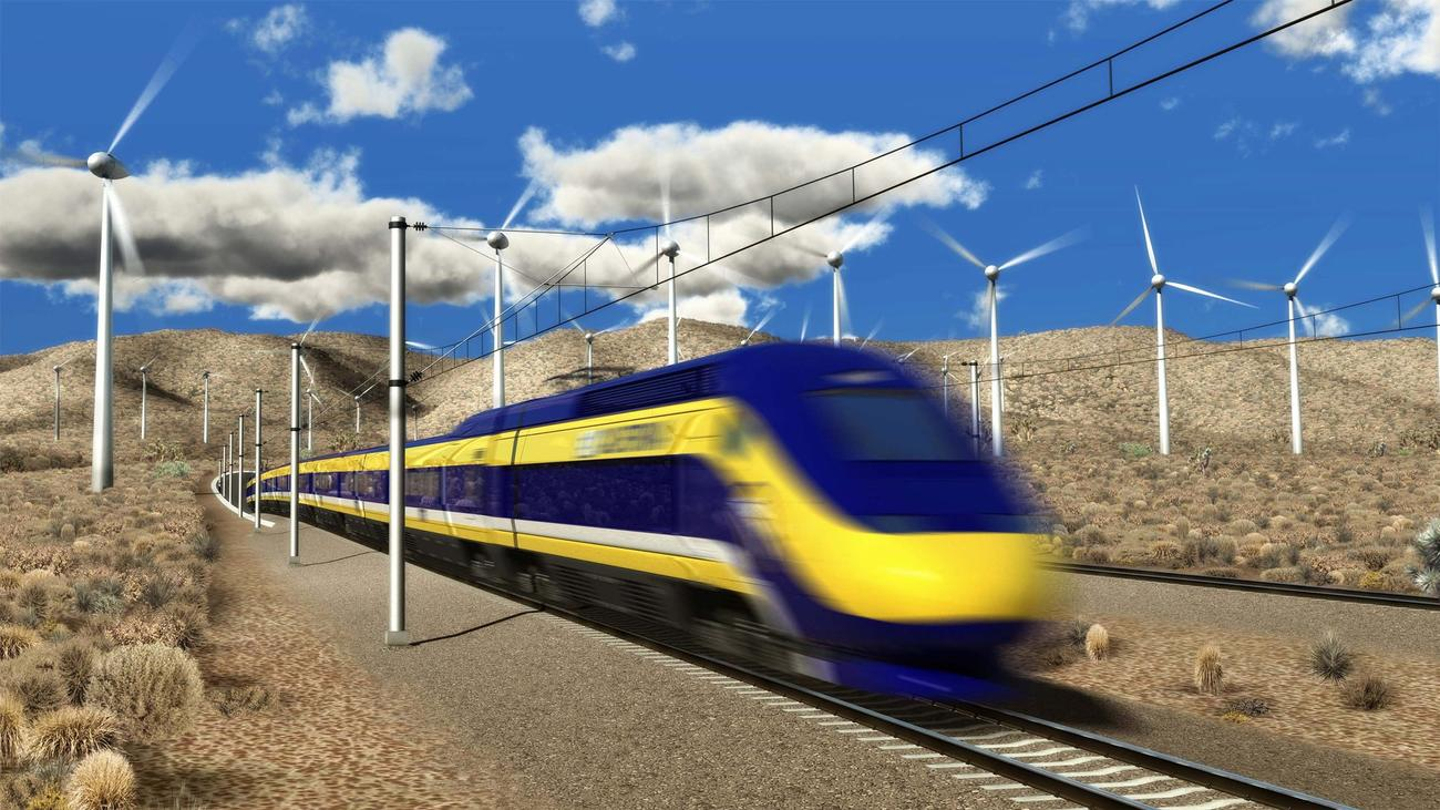 A 2015 drawing of the proposed bullet train. When completed, the trip from L.A. to San Francisco is estimated to take 2.5 hours. (Credit: California High-Speed Rail Authority/EPA)