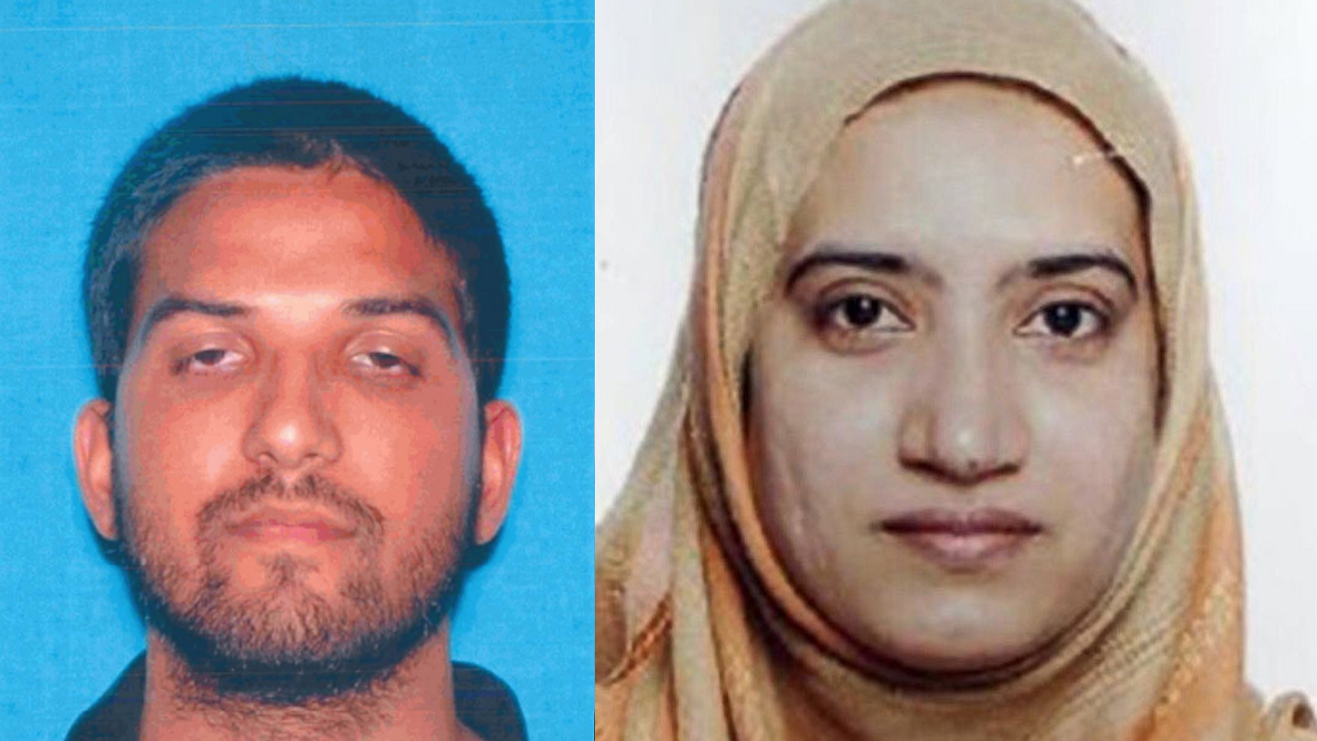The attackers in a deadly mass shooting in San Bernardino on Dec. 2, 2015, are pictured. Syed Farook, left, is seen in a photo released by the California DMV, and Tashfeen Malik, right, is seen in a photo released by the FBI.