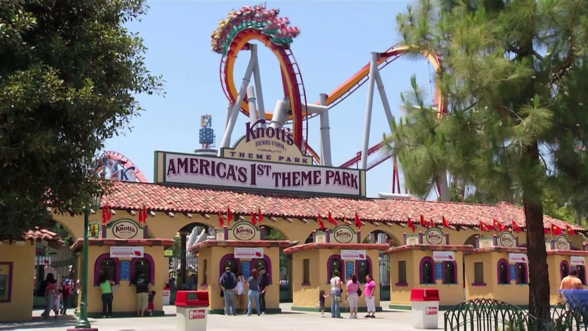 The entrance to Knott's Berry Farm theme park in Buena Park is seen in a file photo.
