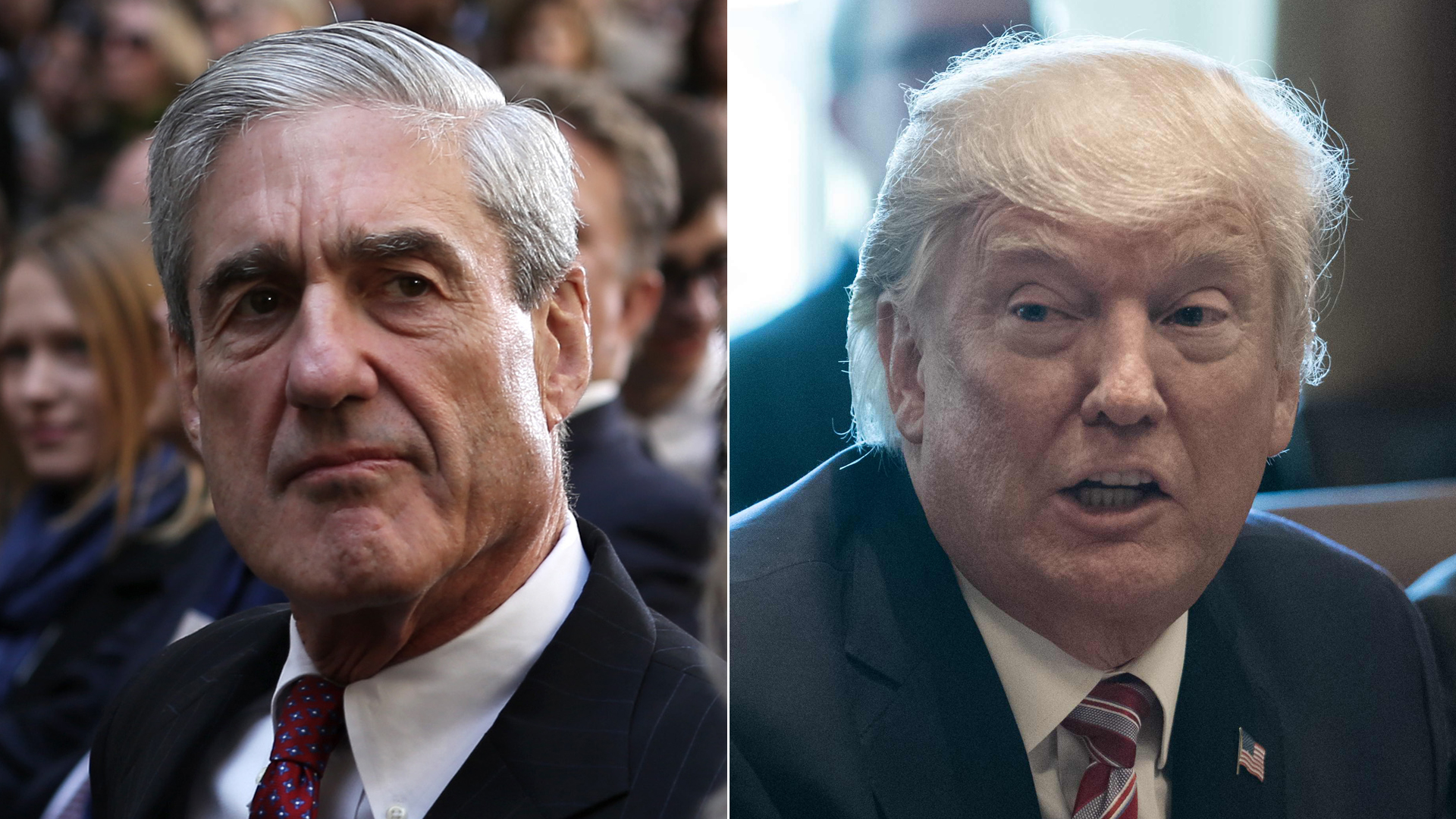Former FBI director Robert Mueller attends the ceremonial swearing-in of FBI Director James Comey on Oct. 28, 2013, left. President Donald Trump speaks during a cabinet meeting at the White House on June 12, 2017 (Credit: Alex Wong/Getty Images; right, NICHOLAS KAMM/AFP/Getty Images)