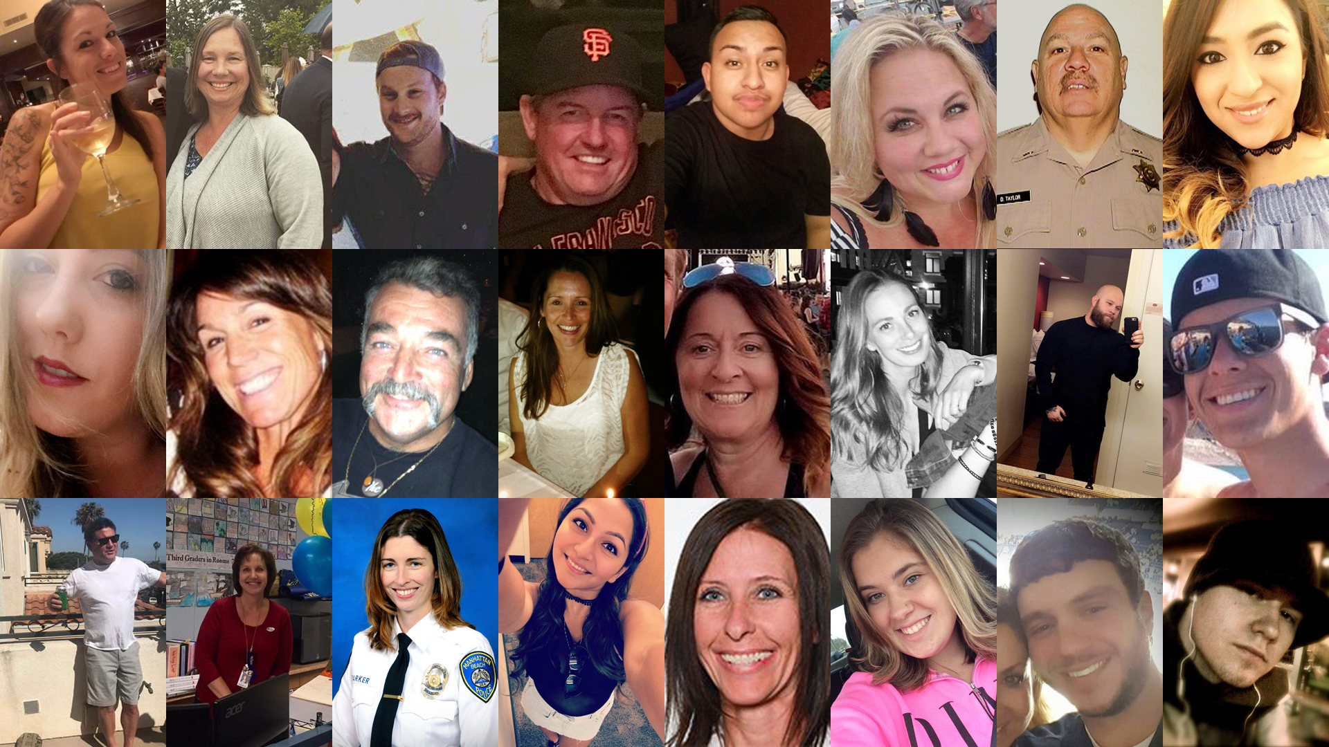 "These are the images of 24 of the 58 victims of the Las Vegas mass shooting. Top: Hannah Ahlers, Lisa Patterson, Jordan McIldoon, Kurt von Tillow, Erick Silva, Heather Warino Alvarado, Derrick Taylor and Melissa Ramirez. Middle: Calla Medig, Stacee Etcheber, John Phippin, Candice Bower, Denise Salmon Burditus, Tara Roe, Christopher Roybal and Quinton Robbins. Bottom: Jack Beaton, Susan Smith, Rachael Parker, Angela ""Angie"" Gomez, Neysa Tonks, Bailey Schweitzer, Sonny Melton and Cameron Robinson."