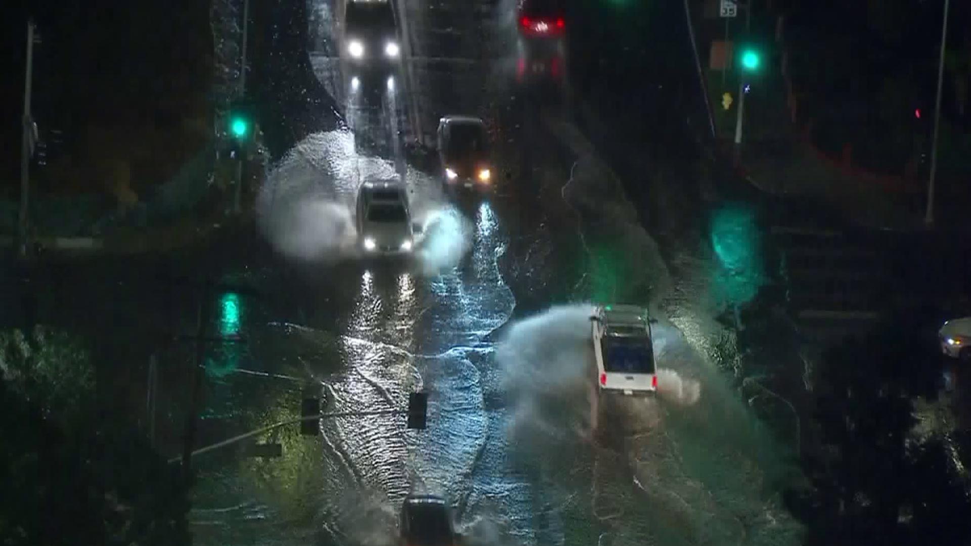 Rain flooded an intersection of Sun Valley on Jan. 8, 2018. (Credit: KTLA)